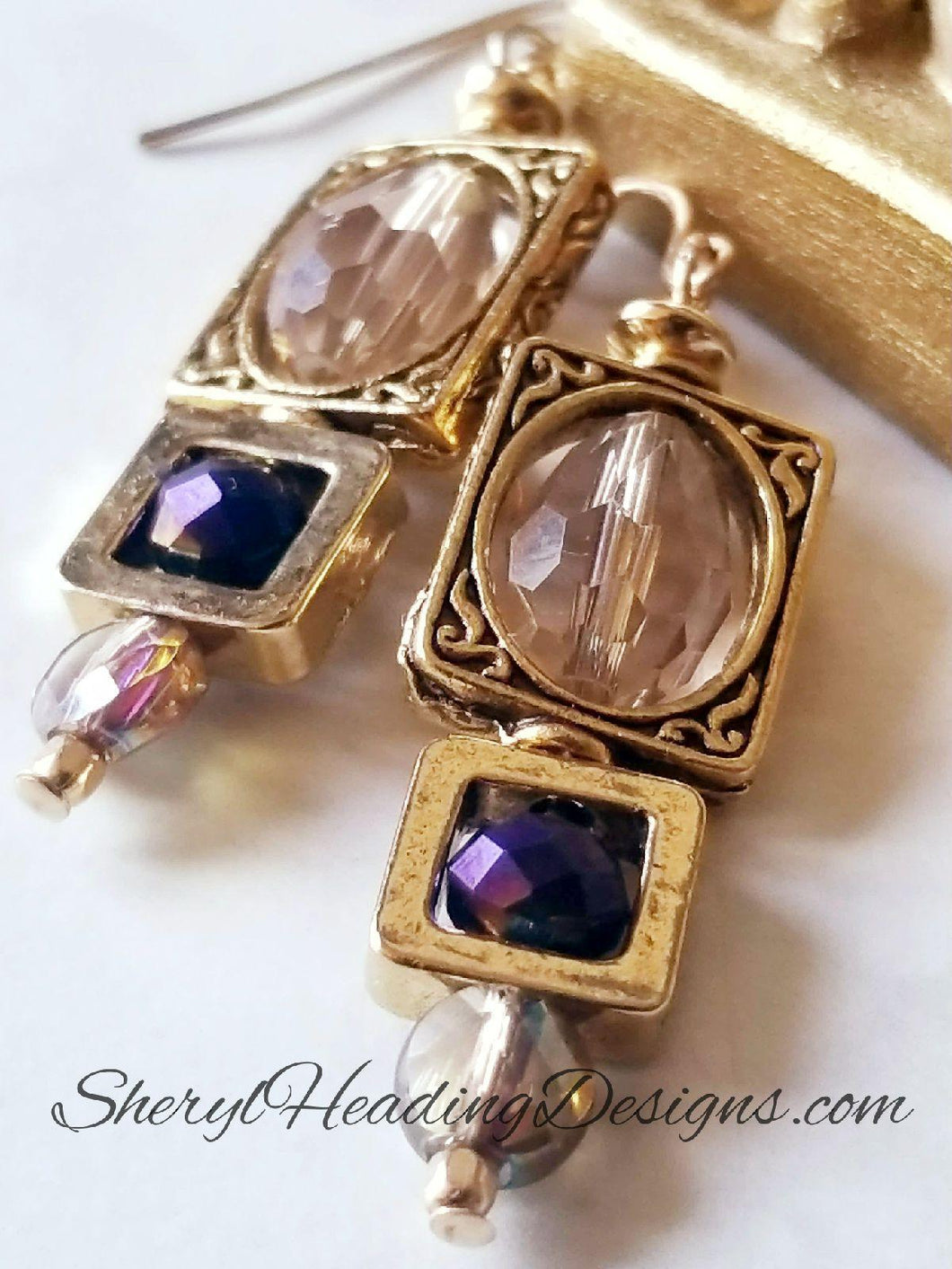 Antique Drop and Dangle Crystal Treasure Earrings - Sheryl Heading Designs