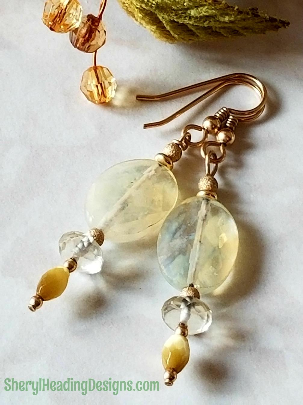 Golden Sugar Top Dangle Earrings - Sheryl Heading Designs