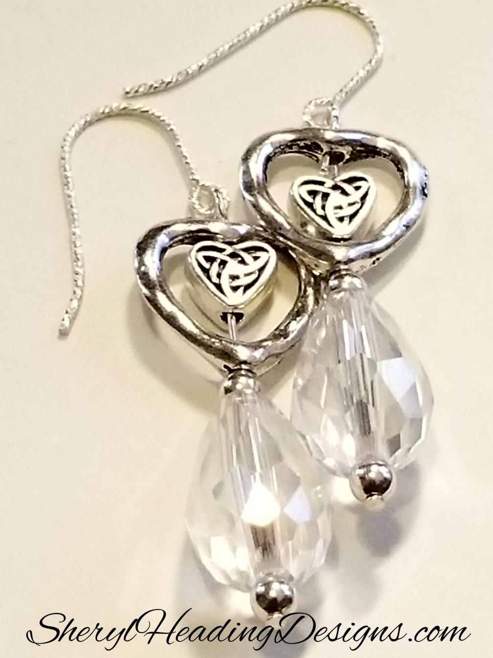 Romantic Crystal Tear Drop Silver Heart Earrings - Sheryl Heading Designs