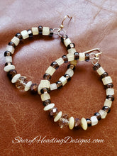 Coffee and Cream Hoop Earrings with Crystal Focal Point Bead - Sheryl Heading Designs