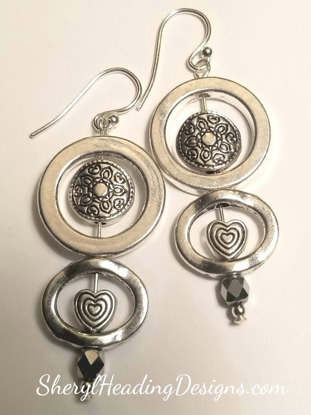 Double Up Sterling and Silver Metal Earrings - Sheryl Heading Designs