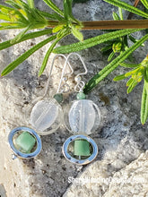 Whose Square? Green and Crystal Dangle Earrings - Sheryl Heading Designs