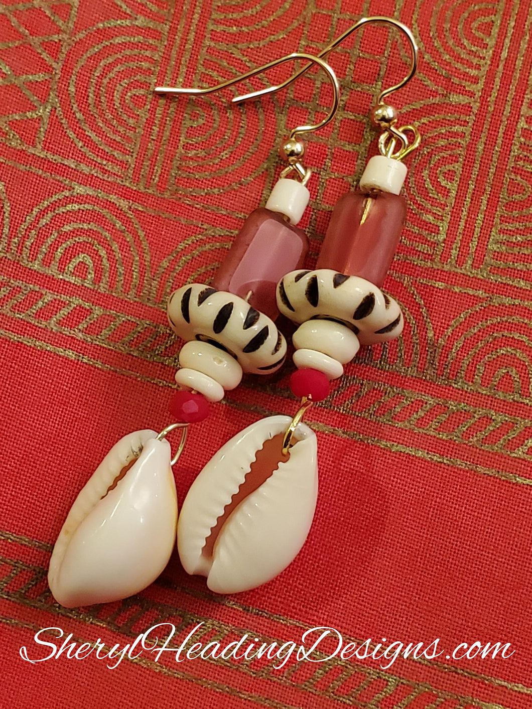Cowrie Shell Dangle Earrings with Red, Black and White Beads - Sheryl Heading Designs