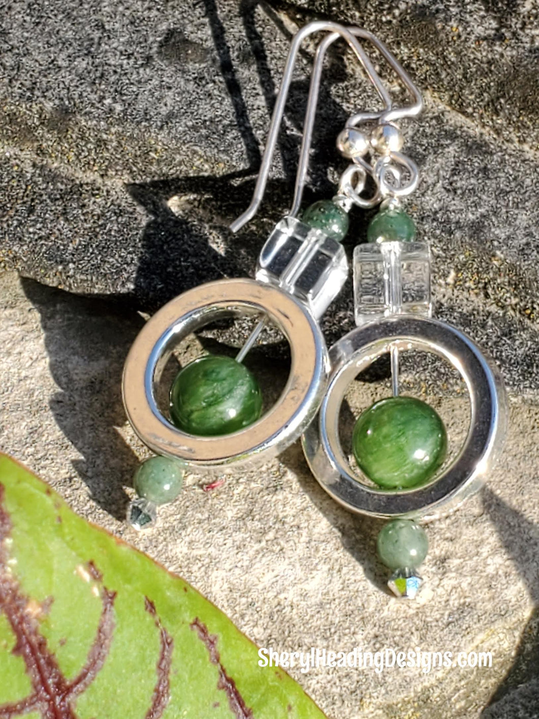 Darling Green and White Crystal Earrings - Sheryl Heading Designs