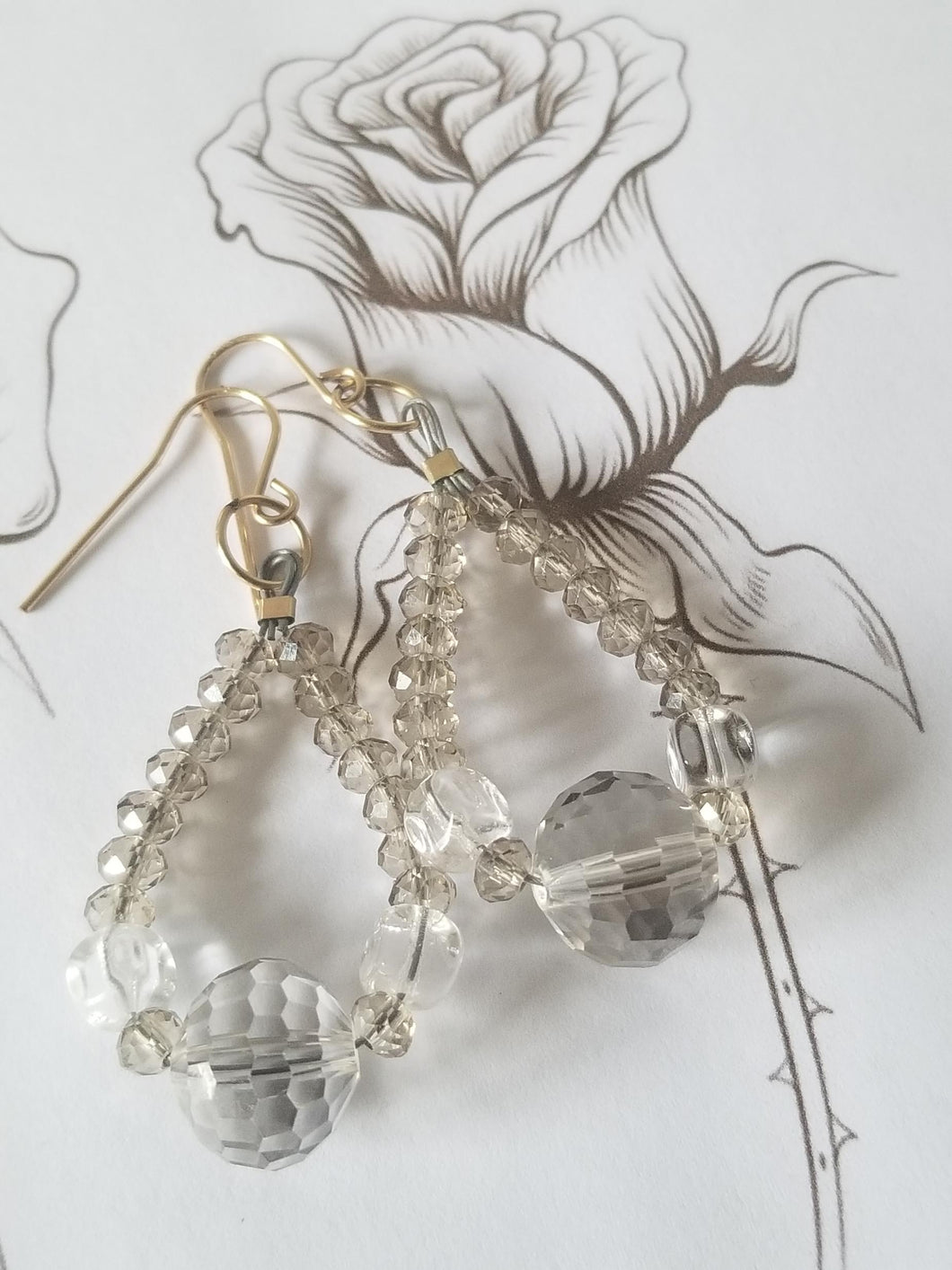 Dynasty Crystal Drop Earrings on Gold-Filled Wires - Sheryl Heading Designs
