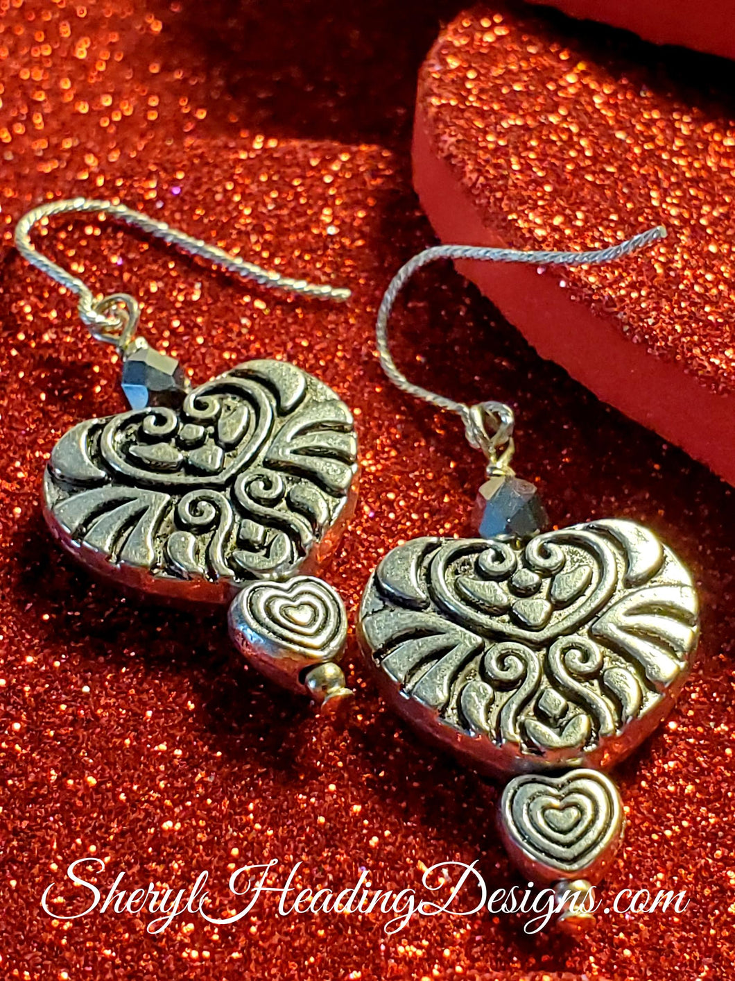 Silver Sweet Hearts Dangle Earrings - Sheryl Heading Designs