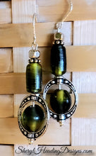 Sweet Silver and Green Dangle Earrings