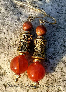 Sandstone and Fire Agate dyed Amber Golden Swirl Gold-Filled Earrings - Sheryl Heading Designs