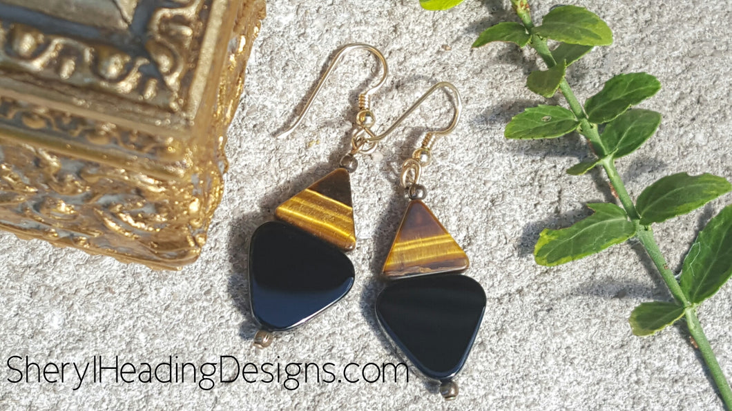 Tiger Eye and Black Onyx Drop and Dangle Earrings - Sheryl Heading Designs