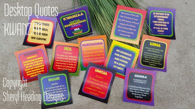 Kwanzaa Desktop/Inspirational Quotes--12 CARDS In a Plastic Freestanding Case. - Sheryl Heading Designs