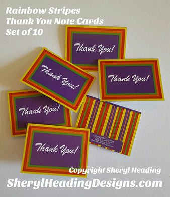 Rainbow Striped Thank You Note Cards, Set of 12 Boxed Cards - Sheryl Heading Designs