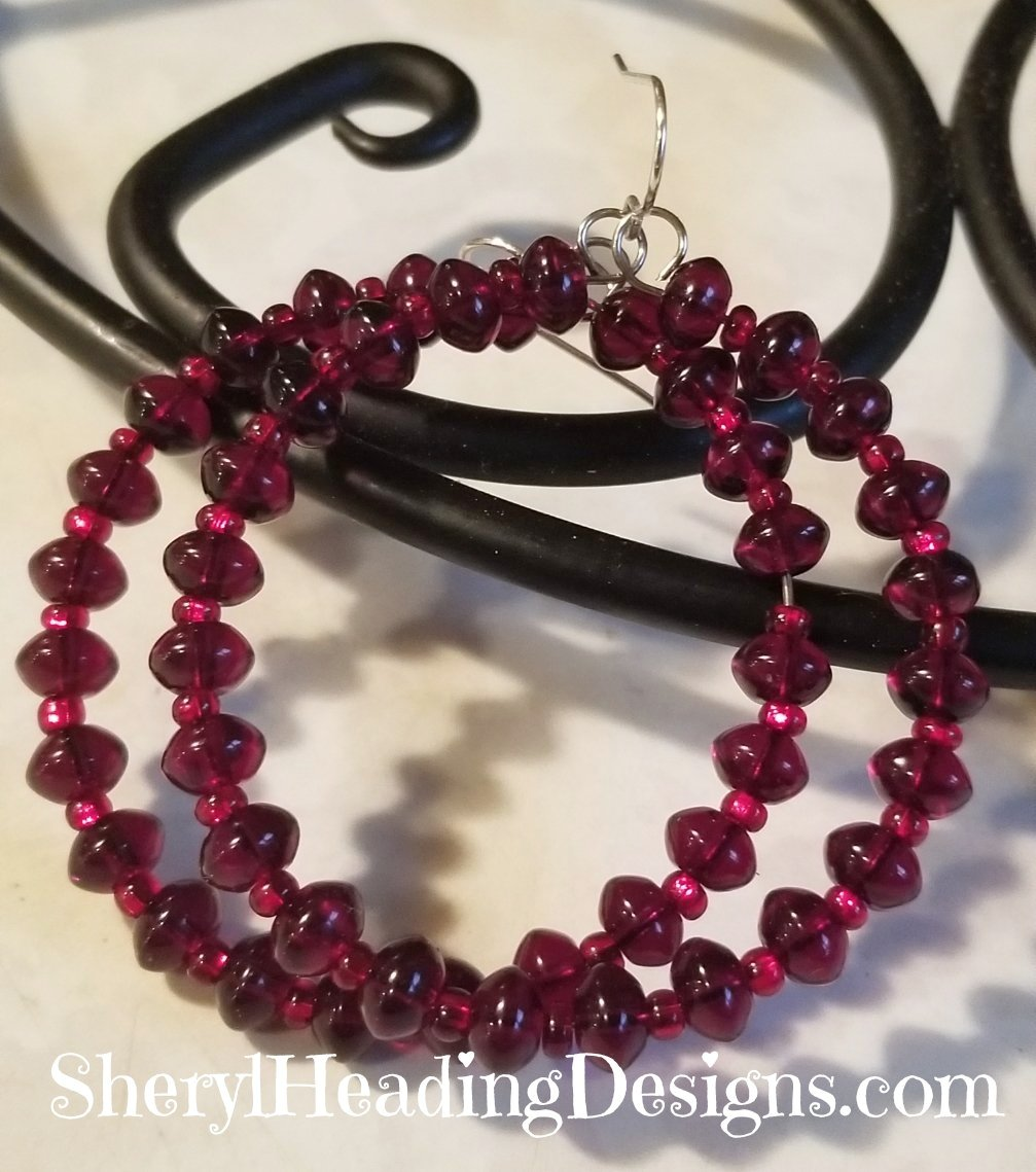 Ready Red Beaded Hoop Earrings - Sheryl Heading Designs