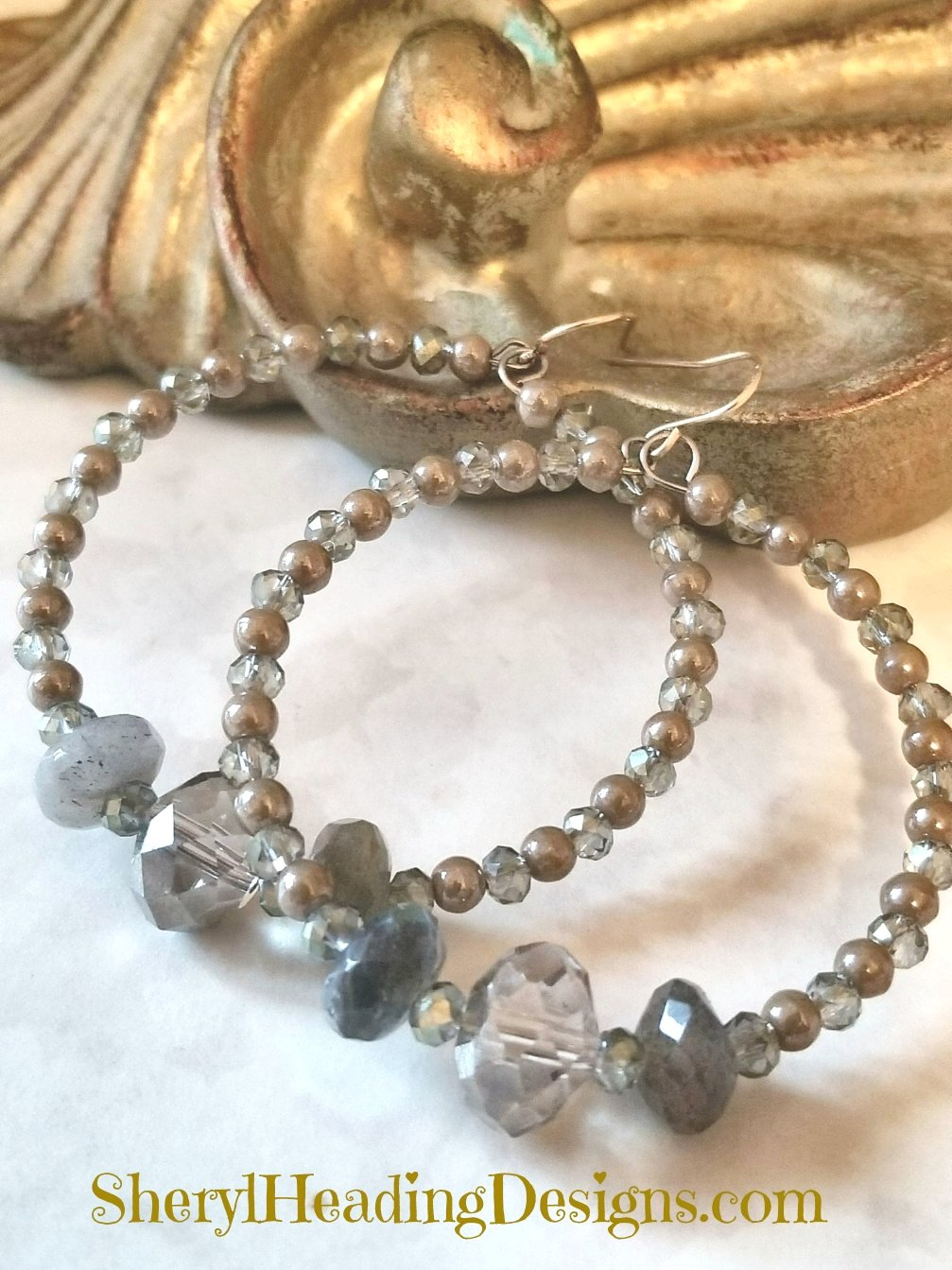 Antiqued Labradorite Beaded Hoop Earrings - Sheryl Heading Designs