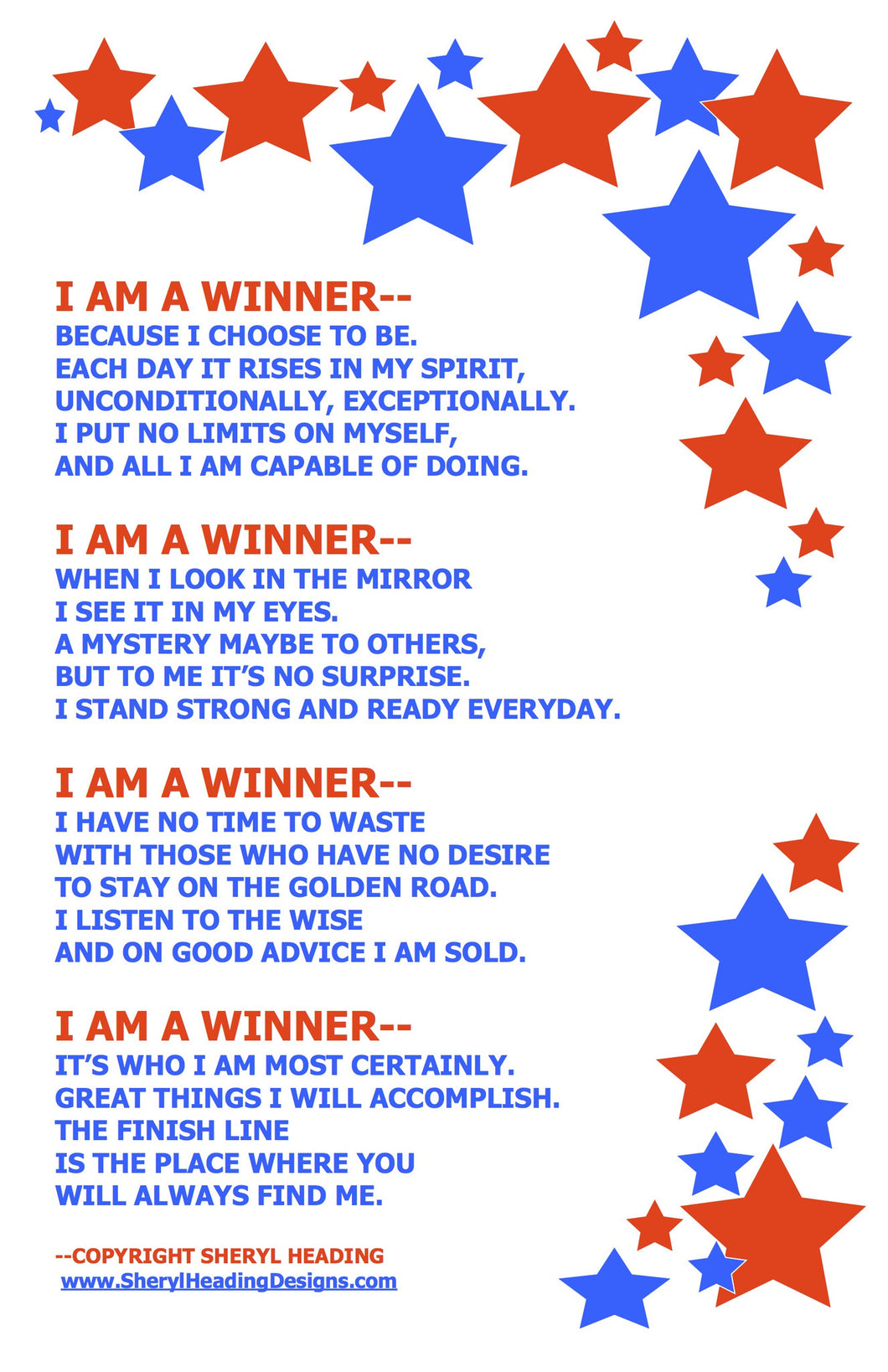 I Am A Winner Poster - Sheryl Heading Designs