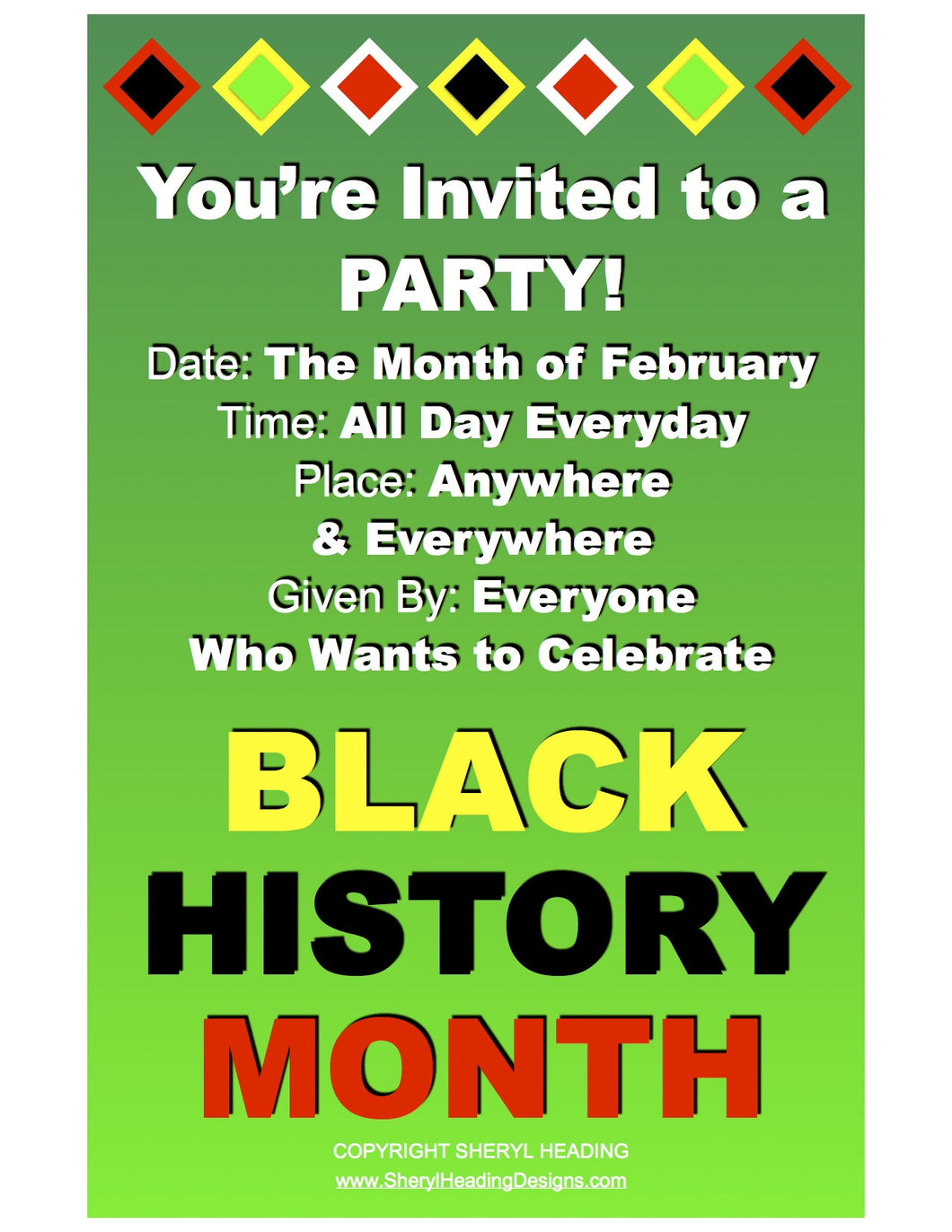 Black History Month You\'re Invited to a Party! Plum, Gold Or Green ...