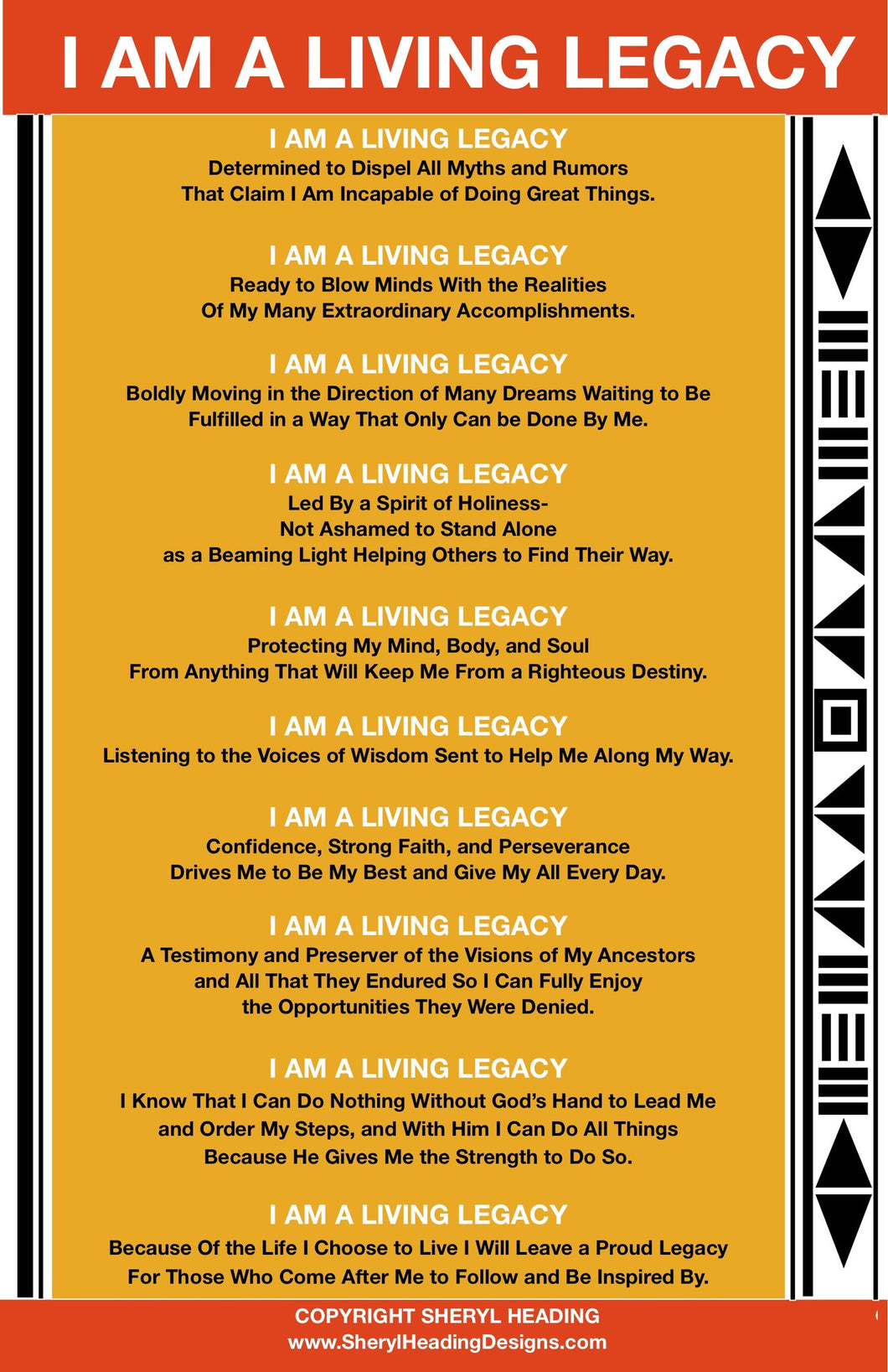 I AM A LIVING LEGACY/GOLD Poster - Sheryl Heading Designs