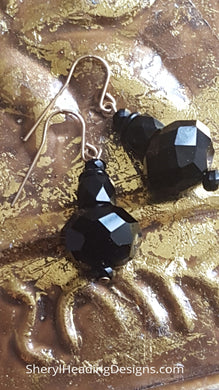 Lovely and Perfect Black Onyx Multi Faceted on Gold-Filled Wires Earrings - Sheryl Heading Designs