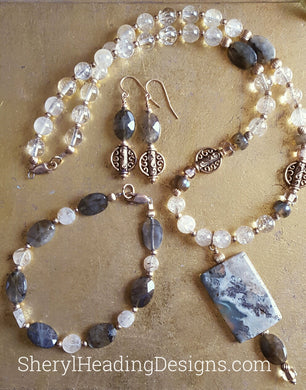 Jasper, Gold Filled Beads, Labradorite, and Lemon Yellow Necklace, Bracelet and Earrings Set - Sheryl Heading Designs
