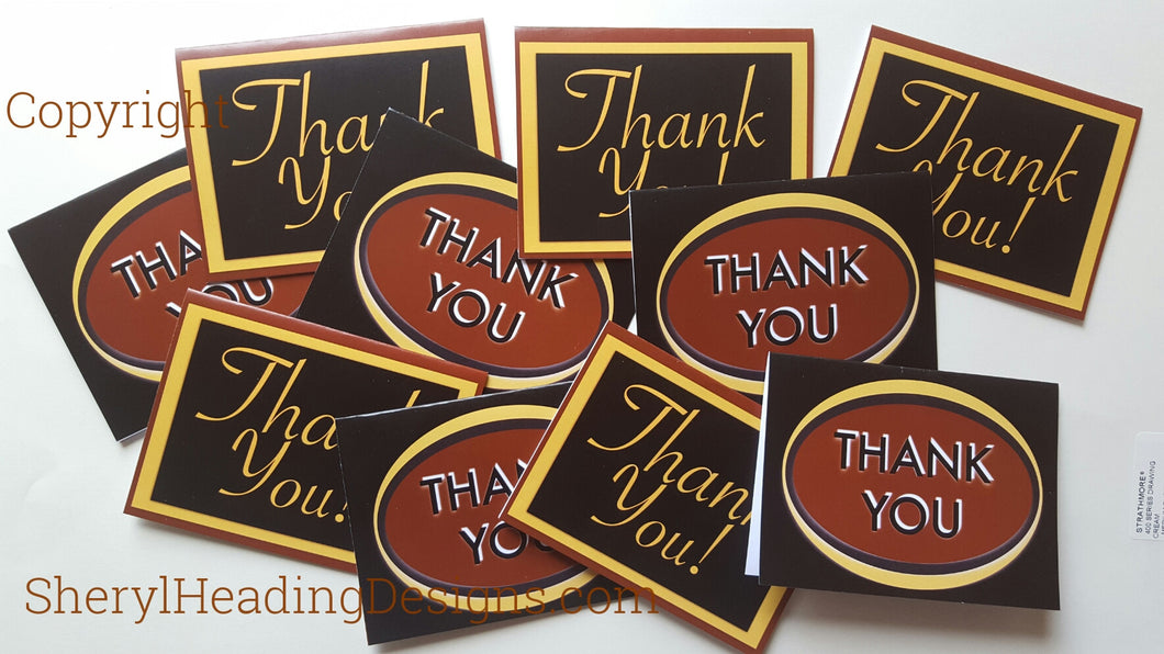 Chocolate Brown Thank You Note Cards w/2 Designs, Set of 10 Boxed Cards - Sheryl Heading Designs