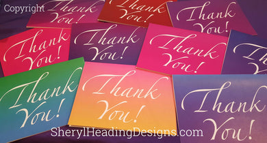 Rainbow Thank You Note Cards, Set of 10 Boxed Cards - Sheryl Heading Designs