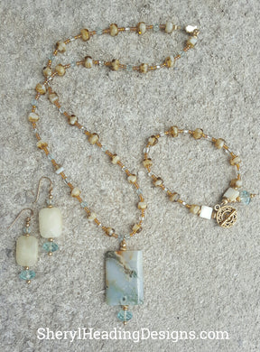 (SOLD) Semi Precious Stones and Gold Filled Findings Necklace Set - Sheryl Heading Designs