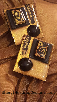 Hand Painted Golden Bronze Earrings - Sheryl Heading Designs