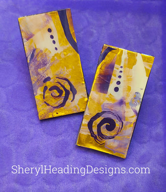 Hand Painted Gold and Purple Swirl Pierced Earrings - Sheryl Heading Designs