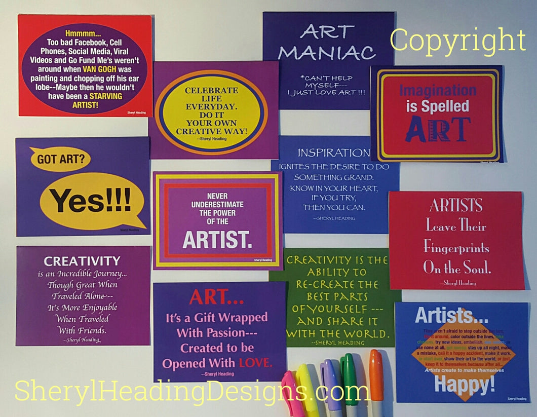 Artist/Creative Soul Note Cards 12 Different Designs, Set of 12 Boxed Cards - Sheryl Heading Designs