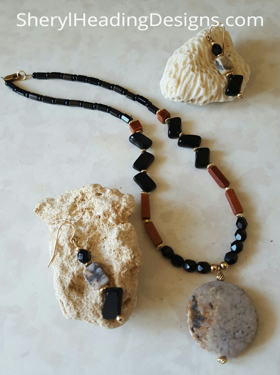 Jasper, Onyx and Brown Goldstone from Italy Necklace and Earrings Set - Sheryl Heading Designs