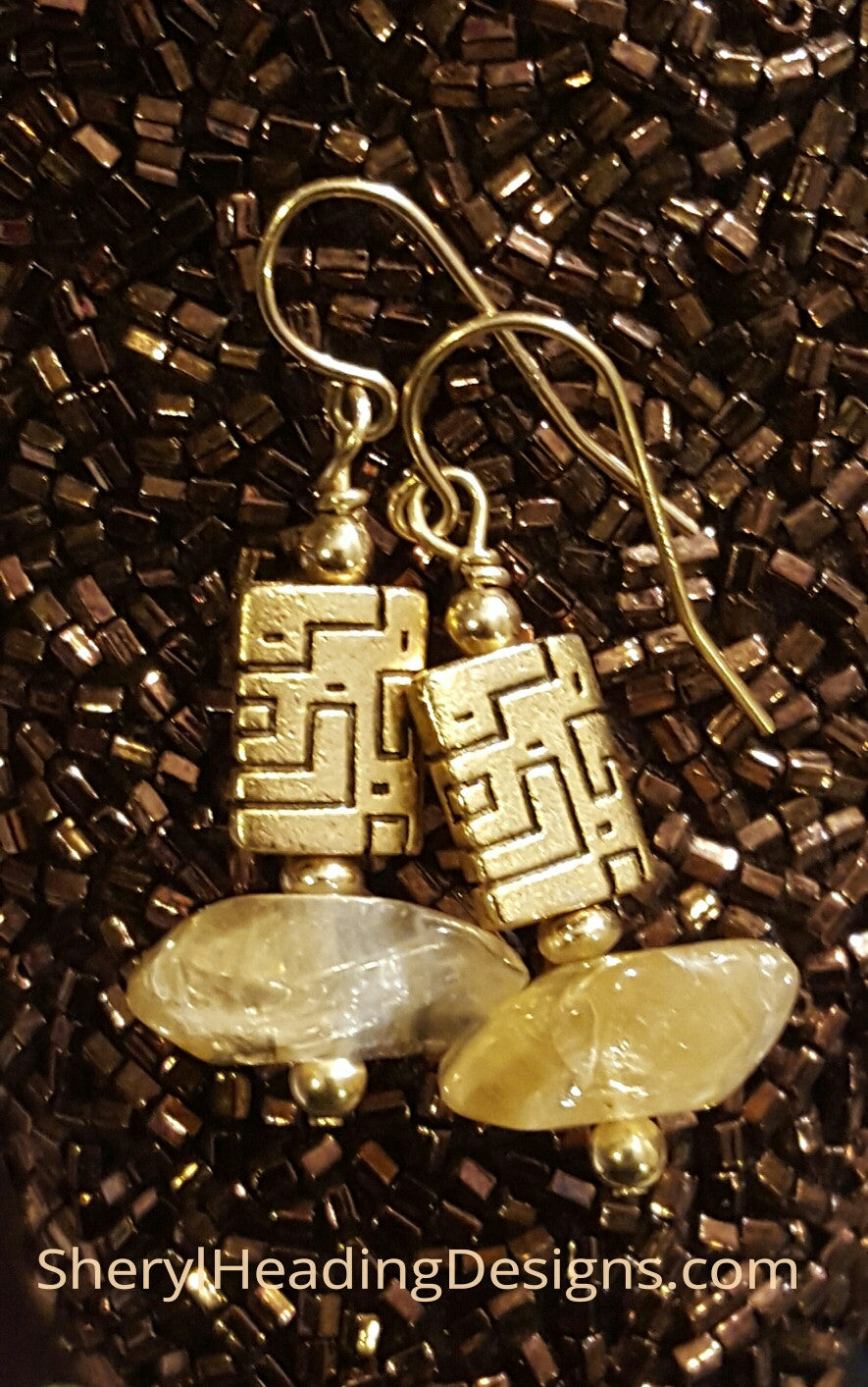 Geometric Citrine Delights Earrings - Sheryl Heading Designs