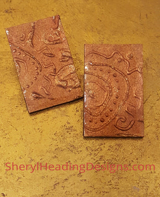 Hand Painted Earrings in Copper and Bronze Designs - Sheryl Heading Designs