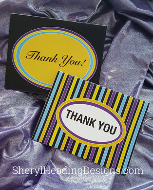 Thank You Note Cards w/2 Designs, Set of 10 Boxed Cards - Sheryl Heading Designs