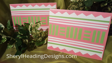 Pink and Green Ethnic Notes Set of 10 Boxed Cards - Sheryl Heading Designs