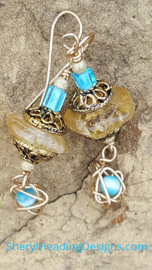 (SOLD) Vintage Blue with a Scribble Earrings - Sheryl Heading Designs