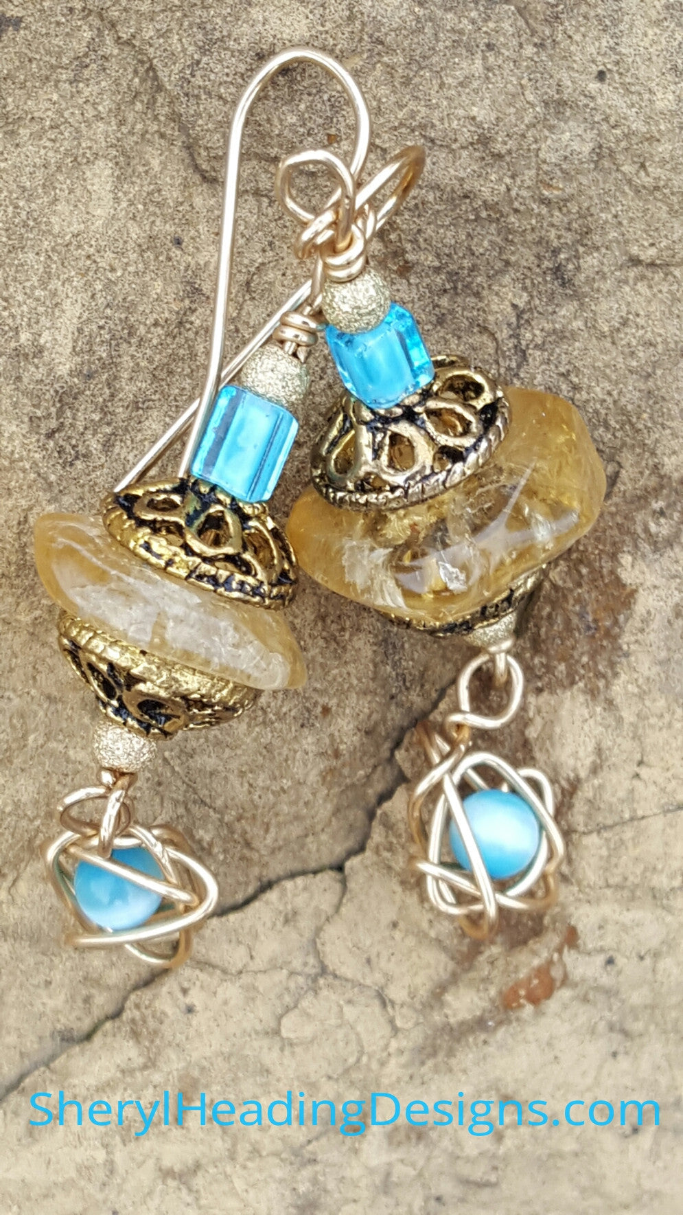 Vintage Blue with a Scribble Earrings - Sheryl Heading Designs