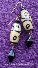 Ceramic Bead with a Black Bicone Drop Bead Earrings - Sheryl Heading Designs