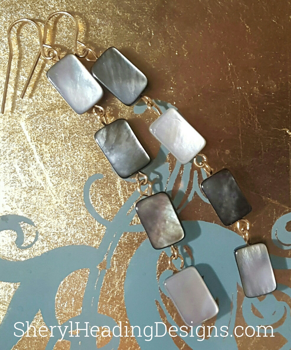 Four Gray Shell Dangles Earrings - Sheryl Heading Designs