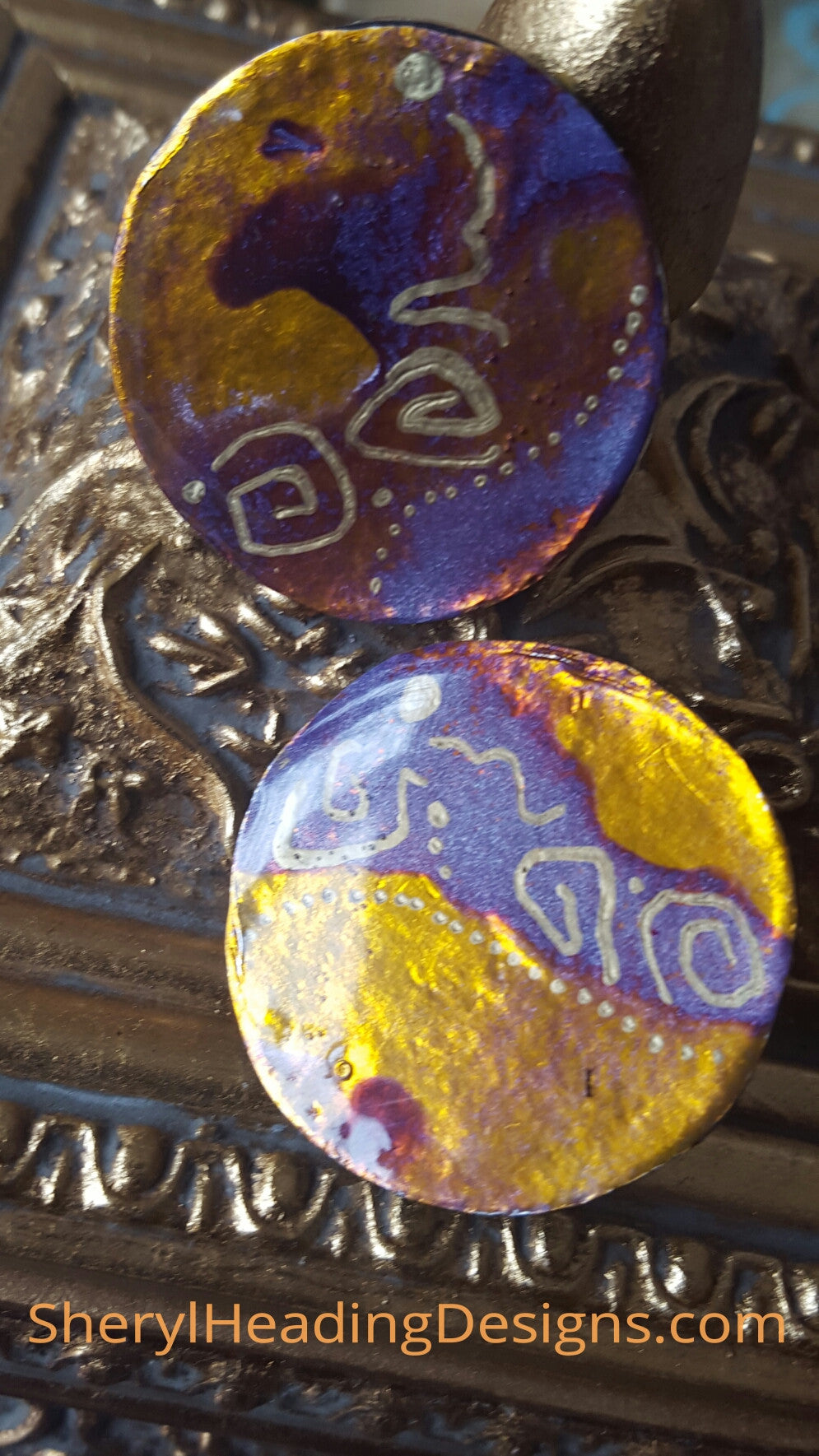 Purple Essence Round Hand Painted Earrings - Sheryl Heading Designs