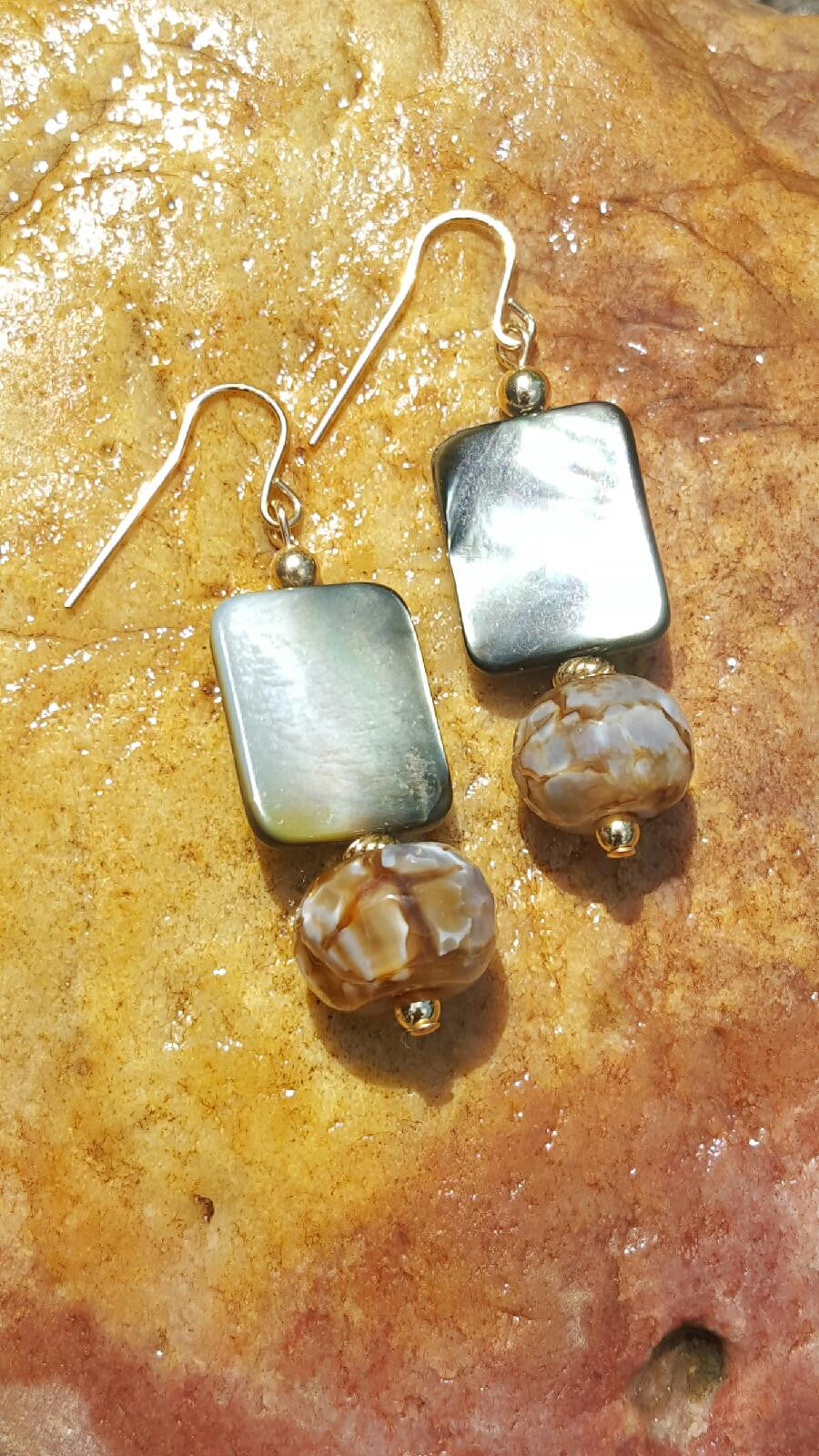 Shells and Precious Stones Earrings - Sheryl Heading Designs