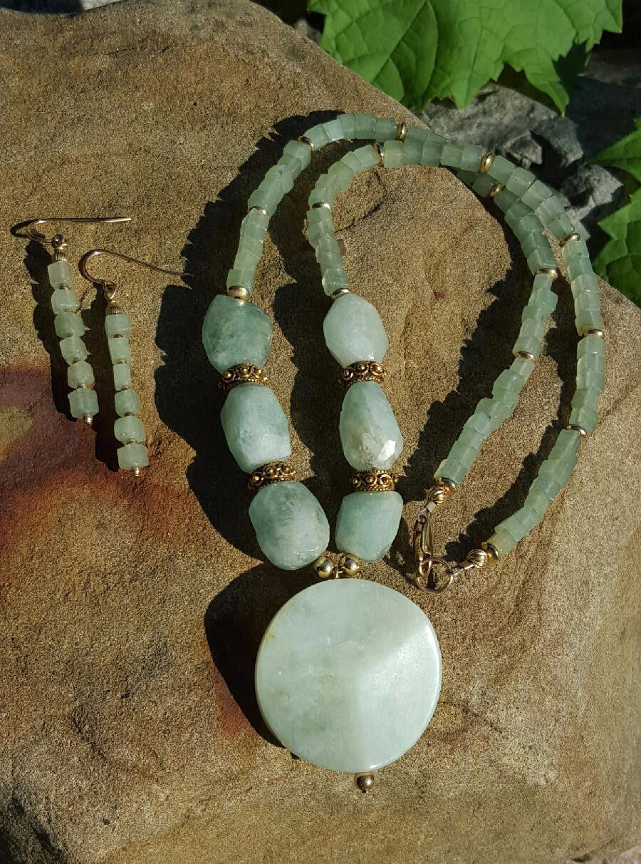 Aventurine Brazilian Pleasure Gold Necklace and Earring Set - Sheryl Heading Designs