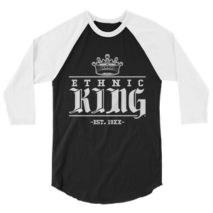 Premium Ethnic King 3/4 Long sleeve w/ White Design - Mytshirtculture