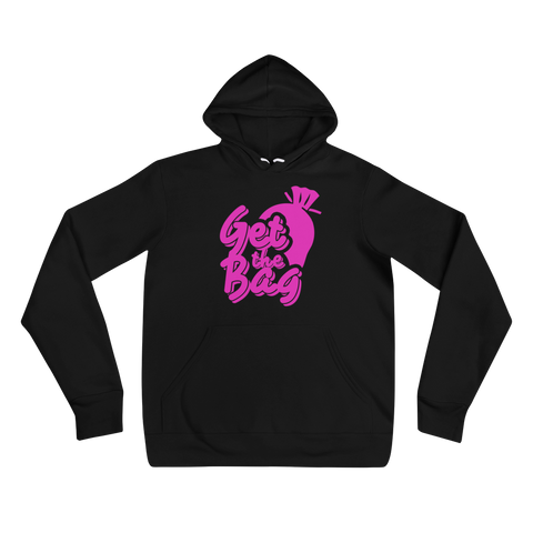 Pink Graphic Get The Bag Black Hoodie - Mytshirtculture