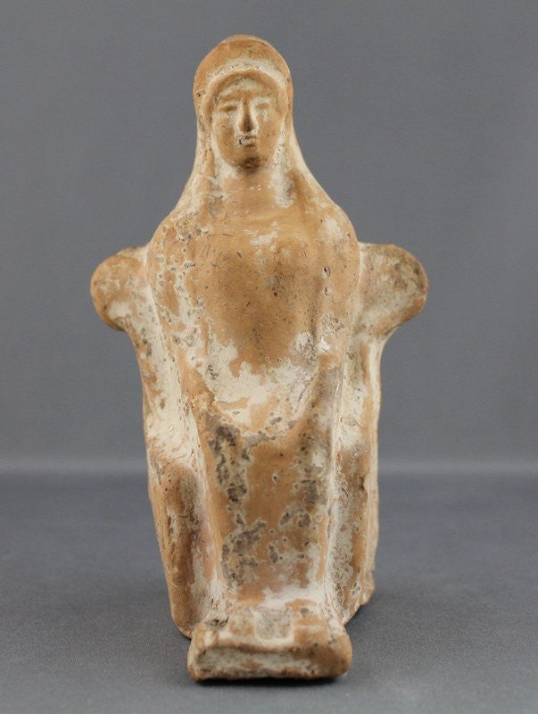 Ancient Greek Terracotta Statuette of a Seated Woman