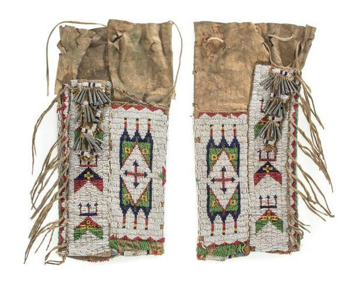 Sioux Beaded Hide Leggings - Native American