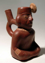 Moche II - III Seated Figure, Ancient Stirrup Ceramic