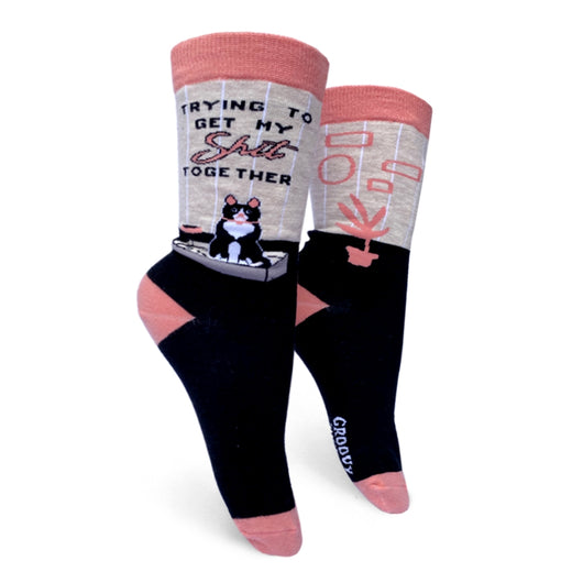 Cat Themed Womens Crew Socks For Cat Lover. Mothers Day Gifts. Cute Christmas Gifts. Stocking Stuffers. Trying to get my shit together socks