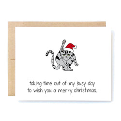Funny Cat Christmas Card. Rude Holiday Card. Cat Lover Gift. Taking Time Out Christmas In A Nutshell Cards Cheeky Kumquat Santa Clarita Valencia Gifts