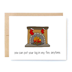 Funny Christmas Card. Sexy Christmas Card. Husband Christmas Card Log in my fire In A Nutshell Cards Cheeky Kumquat Santa Clarita Valencia Gifts