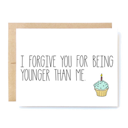 Funny Happy Birthday Card For Brother Sister Cousin Coworker Friend. Funny Bday Card. Santa Clarita Valencia Gifts I forgive you