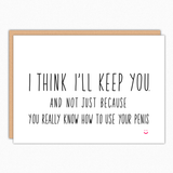 anniversary birthday cards for men naughty card for boyfriend for husband i think i'll keep you best selling